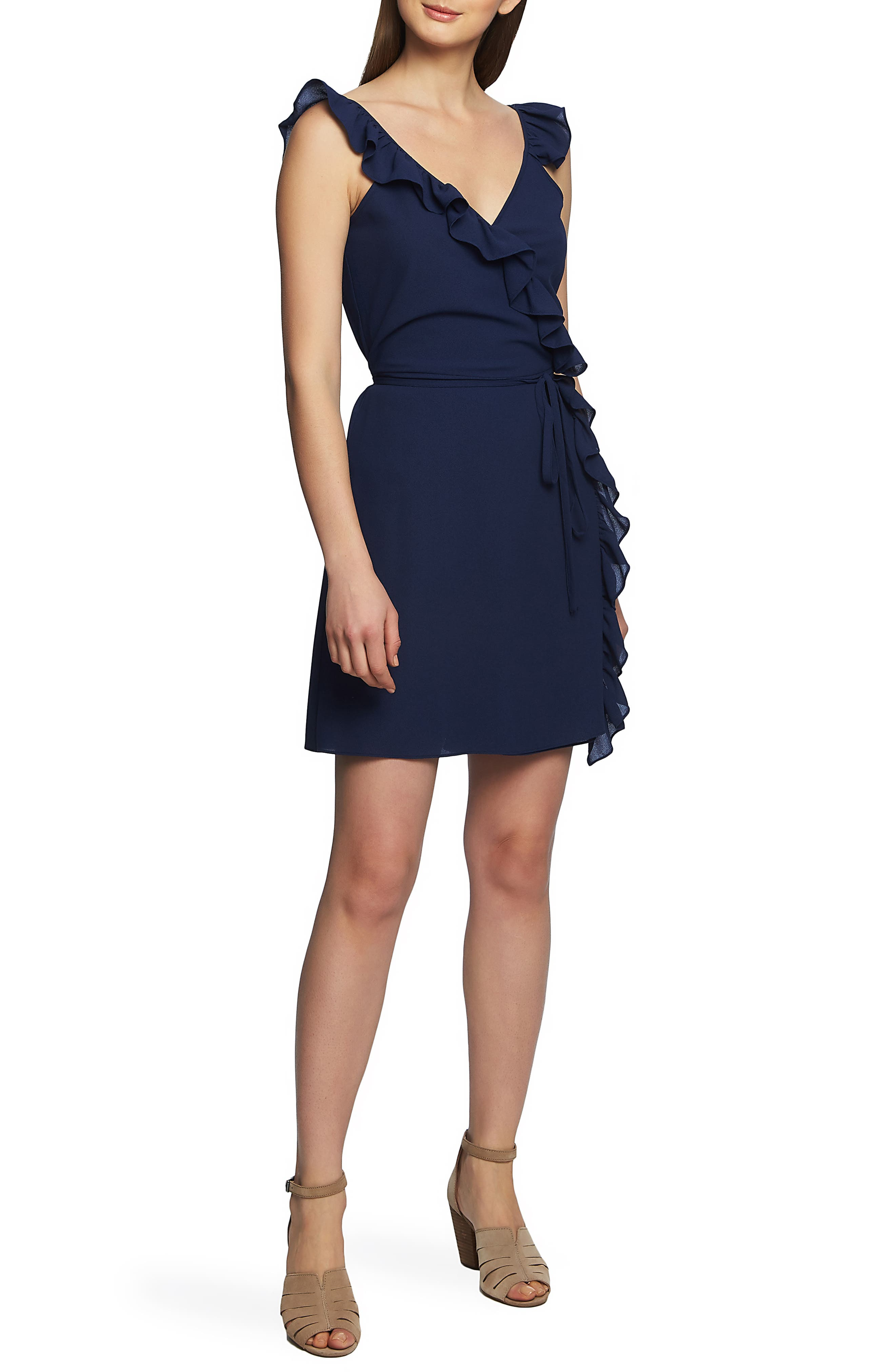 1.state Ruffle Trim Wrap Dress, Blue
