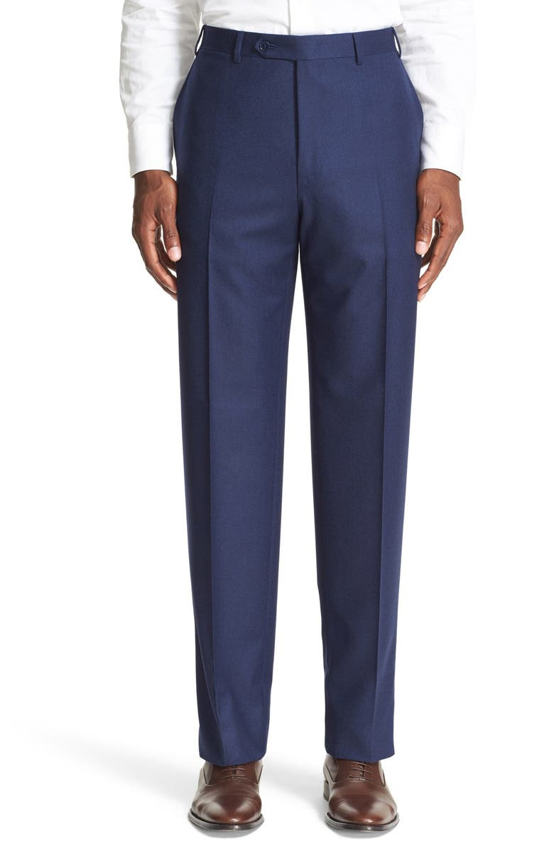 CANALI Flat Front Solid Wool Trousers, Main, color, NAVY