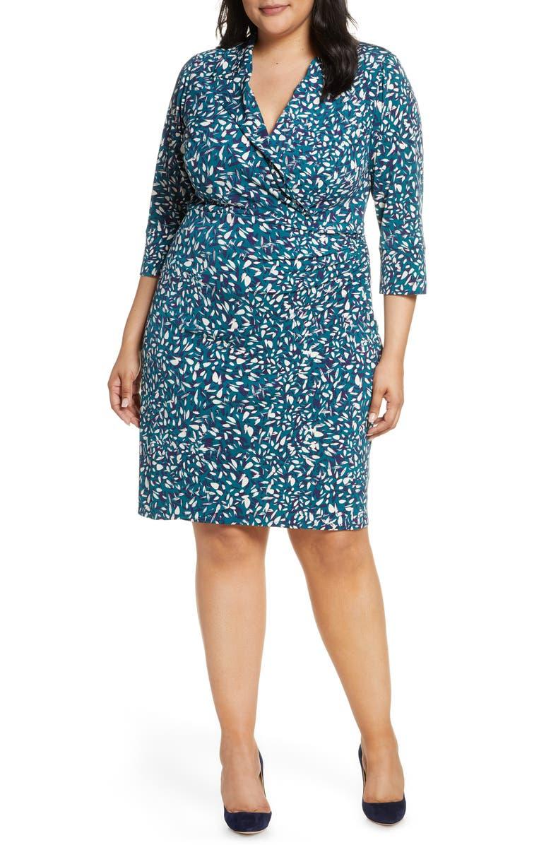 ELIZA J Floral Faux Wrap Dress, Main, color, 310