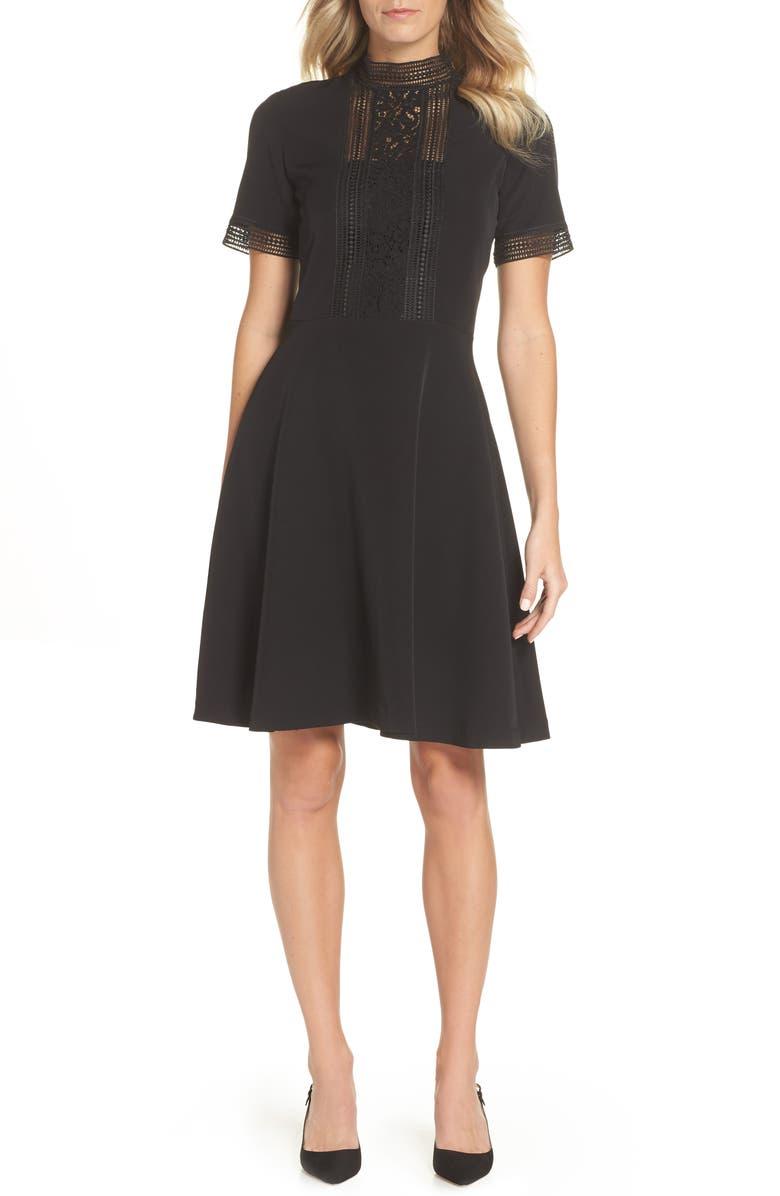 TAHARI Lace Inset Fit & Flare Crepe Dress, Main, color, 001