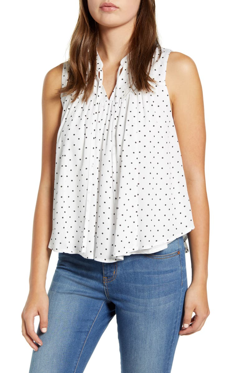 GIBSON x The Motherchic Boardwalk Tie Neck Woven Top, Main, color, 100