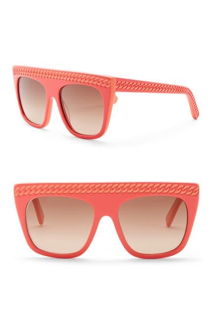 Image of Stella McCartney 54mm Chain Embossed Flat Top Sunglasses