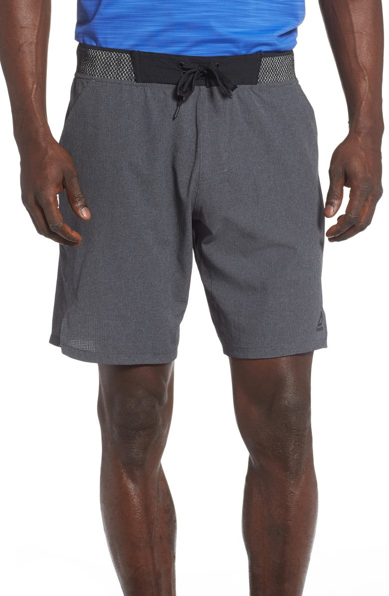 REEBOK OST Epic Knit Waist Shorts, Main, color, DARK GREY HEATHER