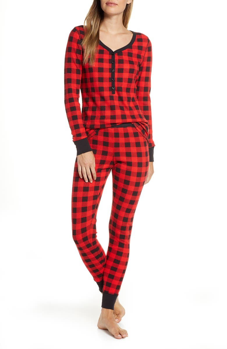 NORDSTROM Thermal Pajamas, Main, color, RED BLOOM BUFFALO CHECK