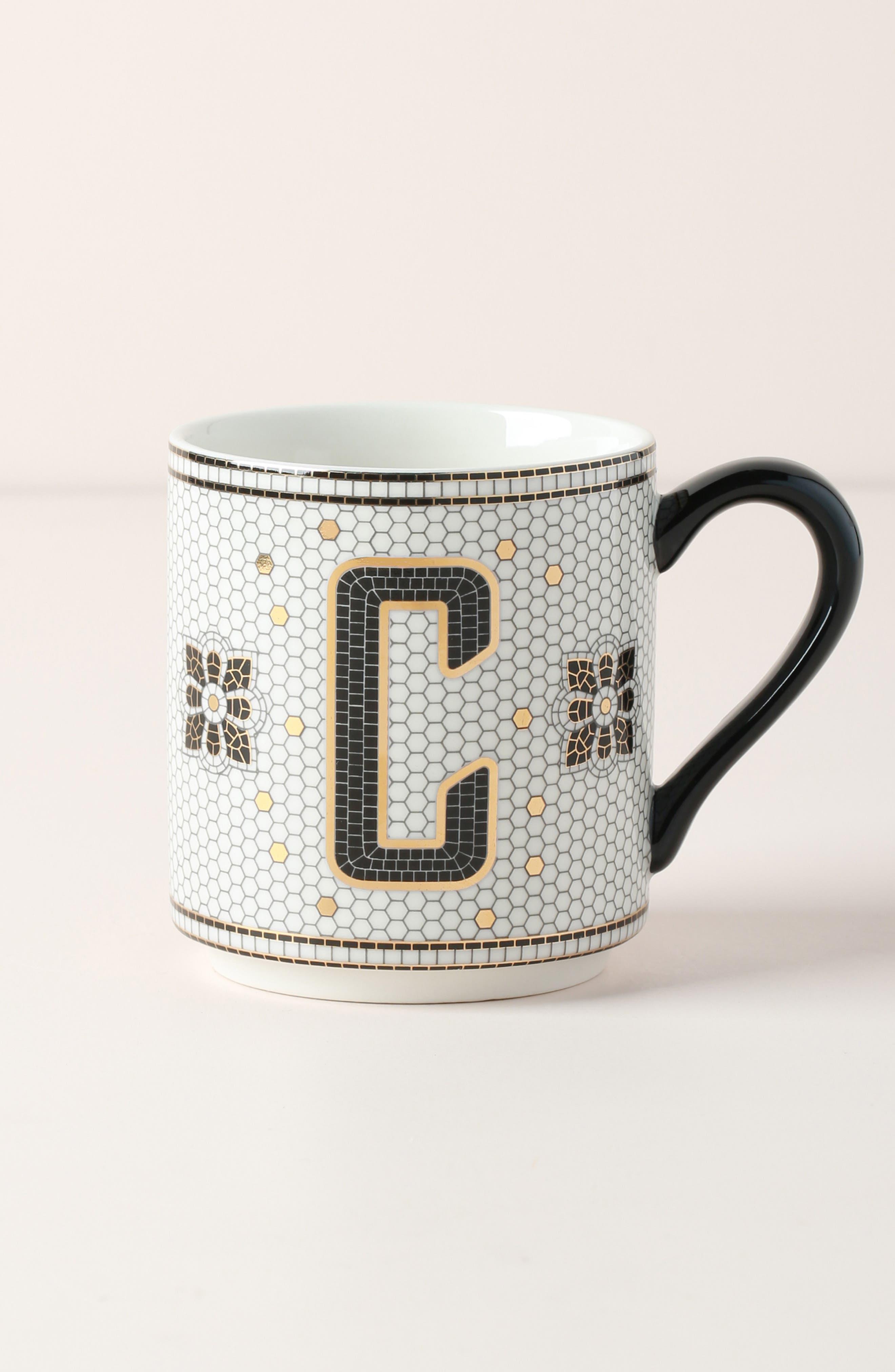 anthropologie bistro monogram mug, size one size - white
