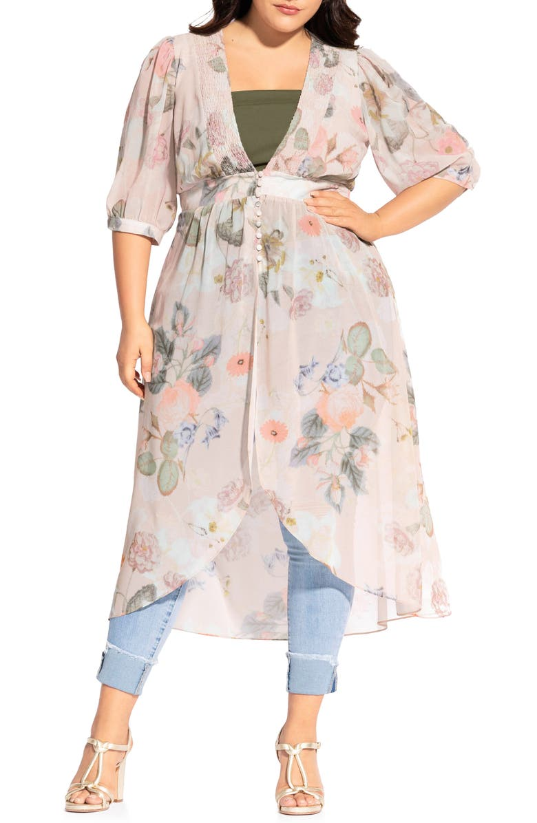 CITY CHIC Summer Rose Duster, Main, color, SUMMER ROSE