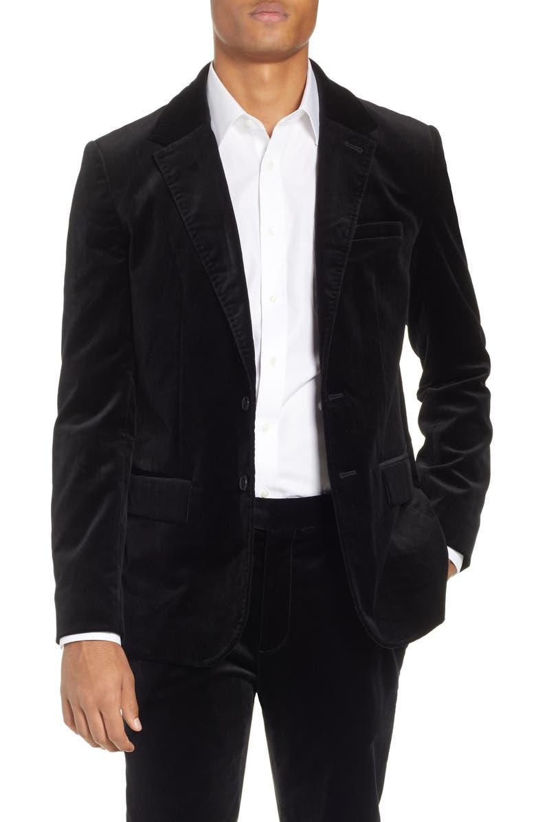 FRAME Slim Fit Stretch Velvet Blazer, Main, color, NOIR