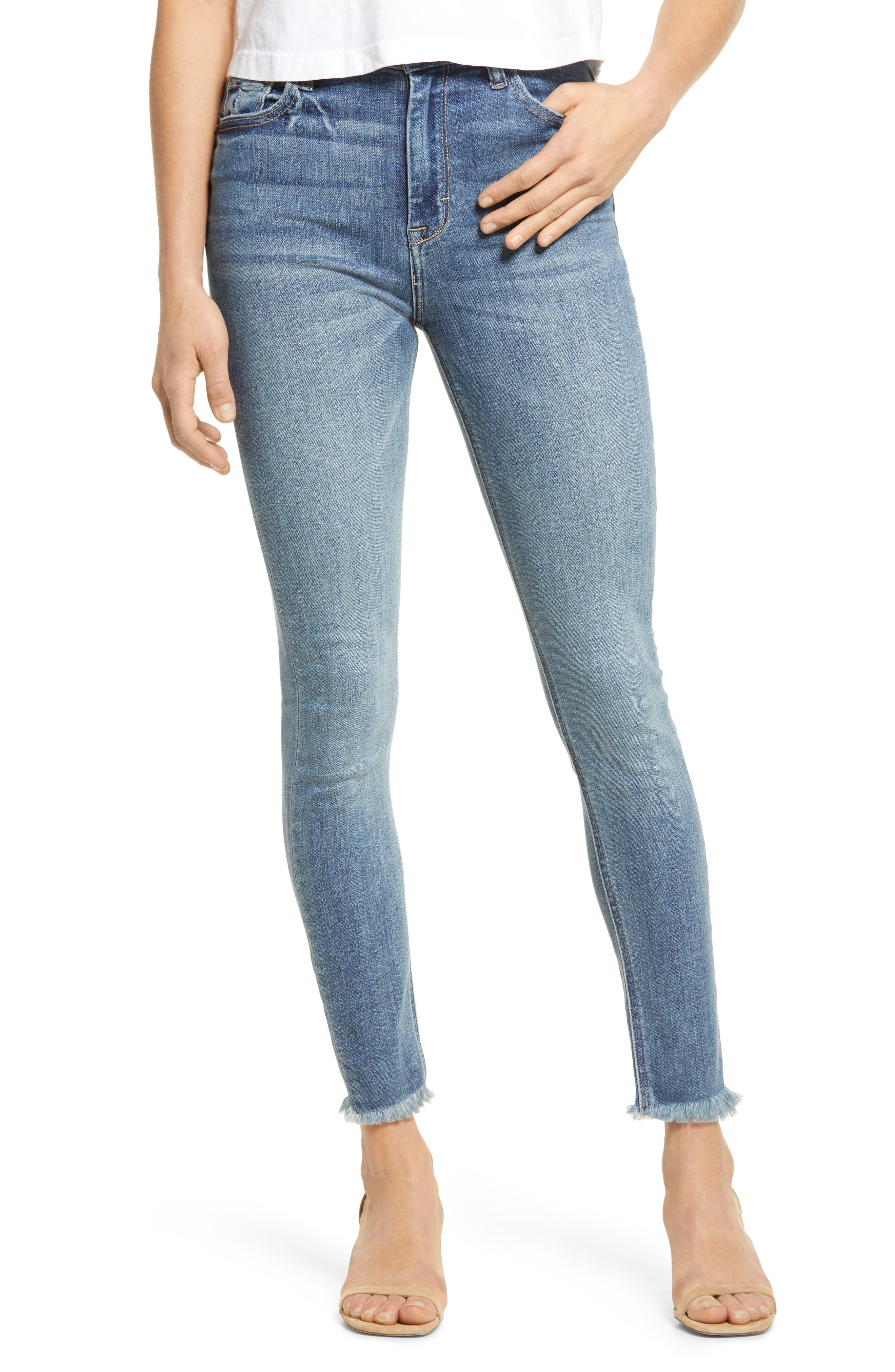 High Waist Fray Hem Stretch Ankle Skinny Jeans