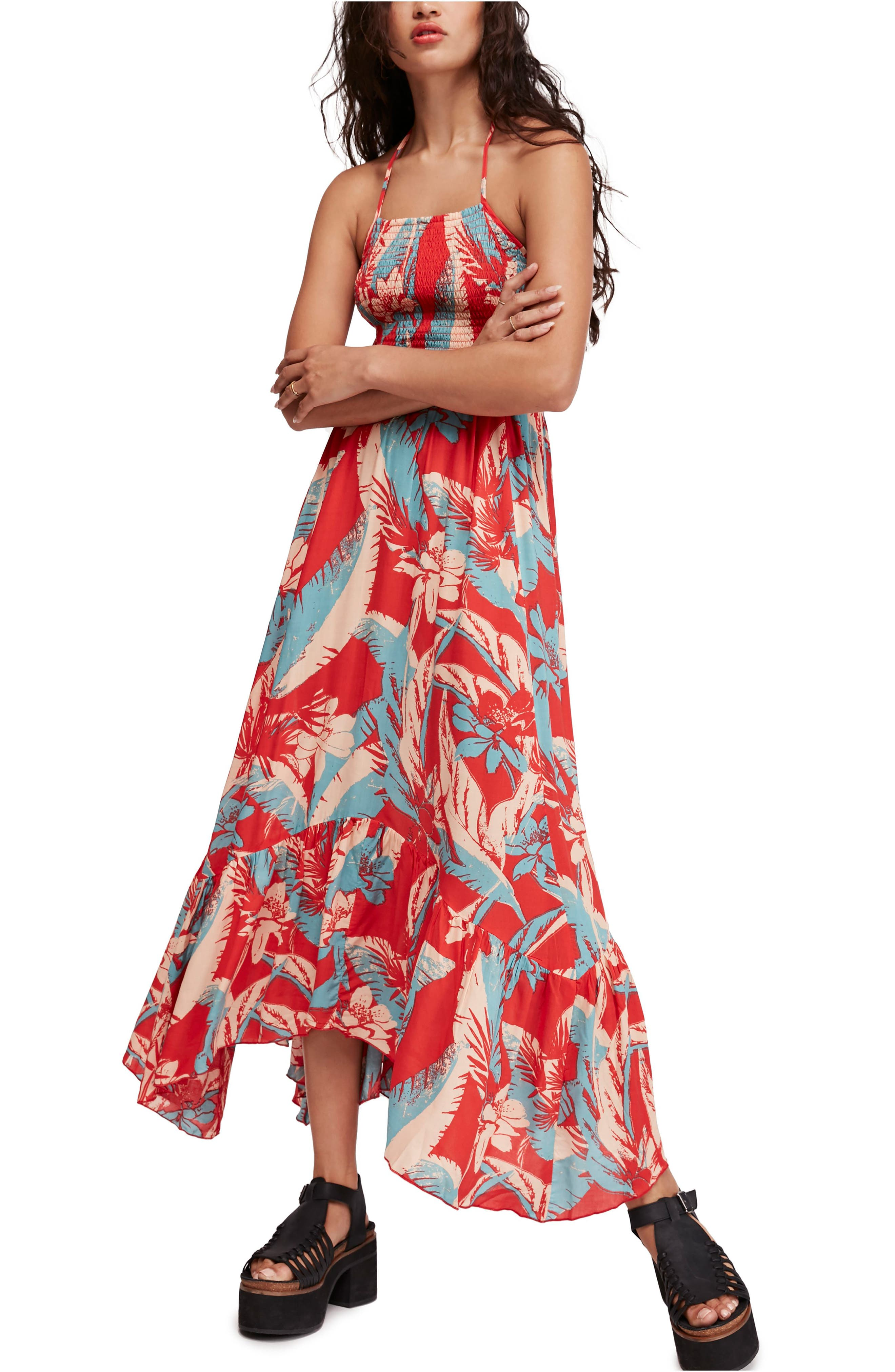 Free People Heat Wave Floral Print High/low Dress, Red