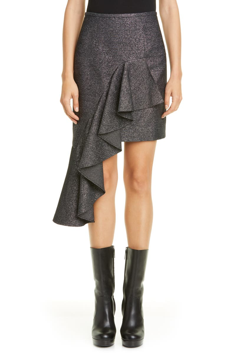 MICHAEL KORS COLLECTION Michael Kors Cascade Asymmetrical Metallic Miniskirt, Main, color, SILVER/ BLACK