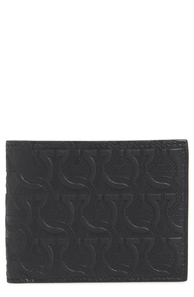 SALVATORE FERRAGAMO Debossed Leather Wallet, Main, color, BLACK