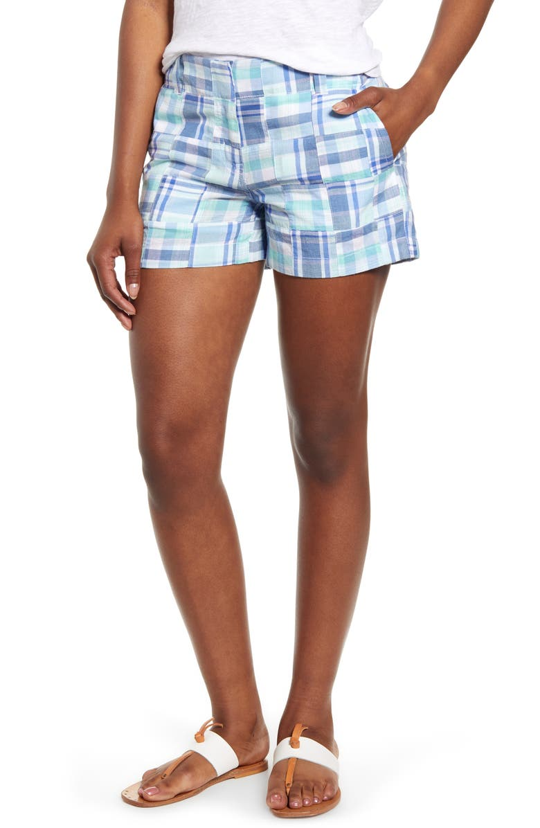 VINEYARD VINES Madras Patchwork Cotton Shorts, Main, color, CRYSTAL BLUE