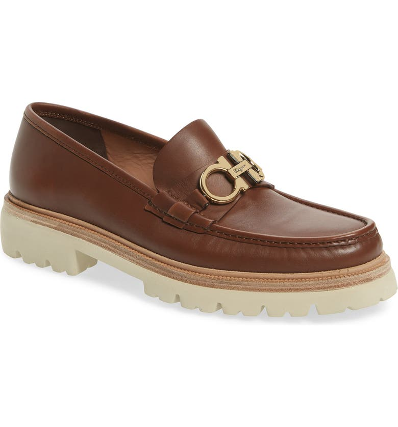 SALVATORE FERRAGAMO Bleecker Reversible Bit Lugged Loafer, Main, color, CUOIO