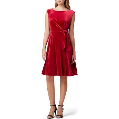 Petite Tahari Stretch Velvet Fit & Flare Dress, Red
