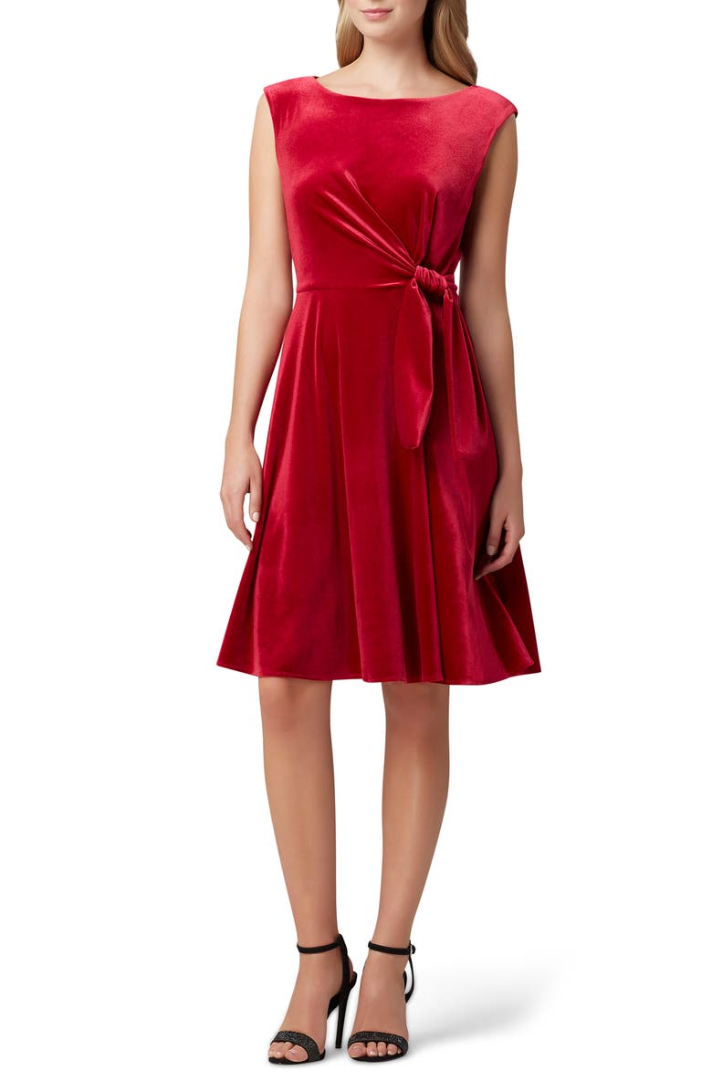 TAHARI Stretch Velvet Fit & Flare Dress, Main, color, RUBY