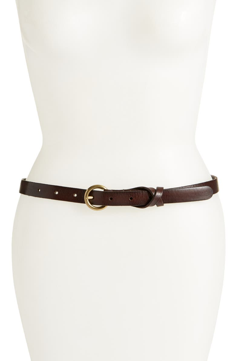 FRYE Flat Panel Skinny Leather Belt, Main, color, BROWN
