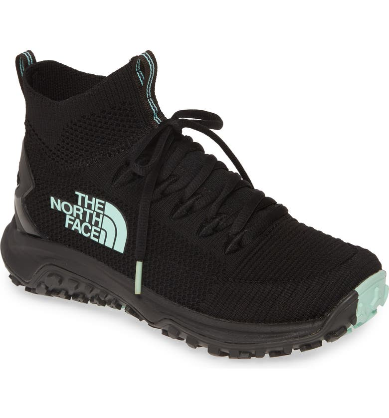 THE NORTH FACE Truxel Mid Top Hiking Sneaker, Main, color, BLACK/ BEACH GLASS GREEN