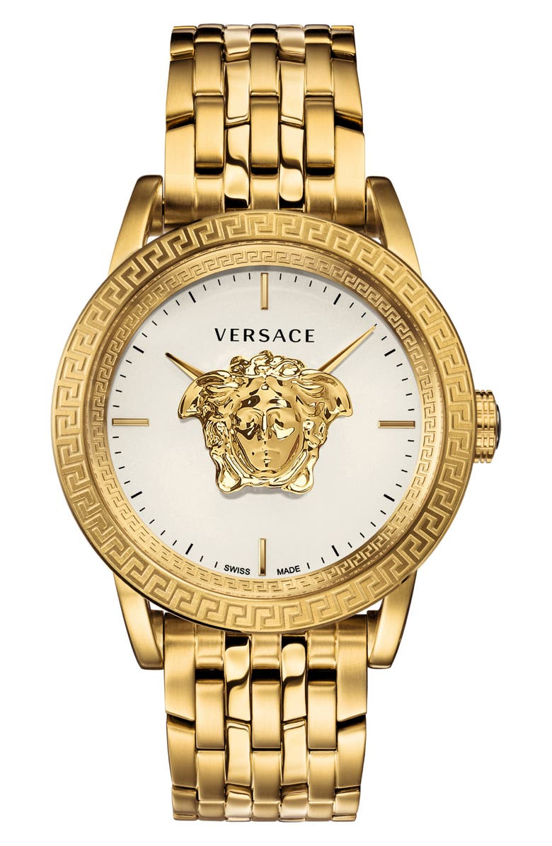 VERSACE Palazzo Empire Bracelet Watch, 43mm, Main, color, GOLD/ WHITE/ GOLD