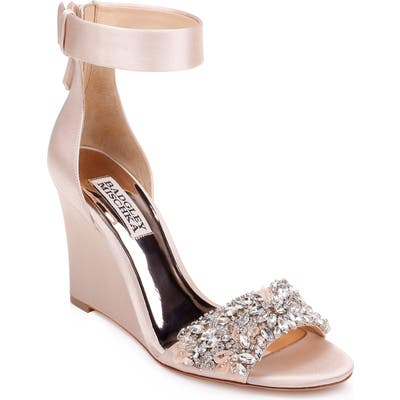 Badgley Mischka Lauren Ankle Strap Wedge, Beige