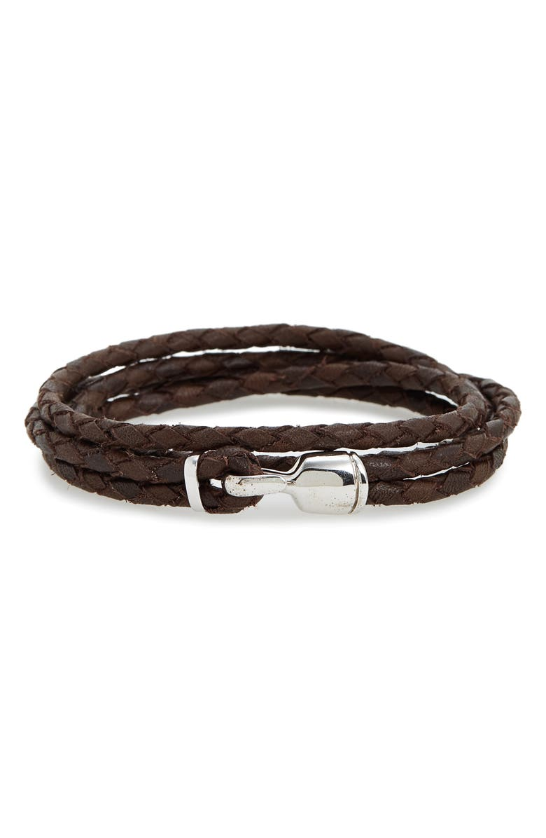 MIANSAI Trice Braided Leather & Sterling Silver Bracelet, Main, color, BROWN
