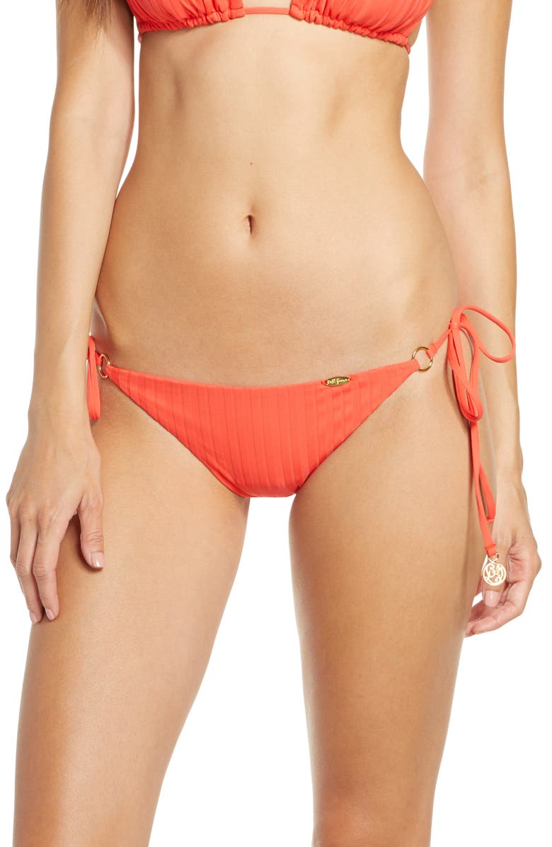 LULI FAMA Ring Brazilian Ruched Bikini Bottoms, Main, color, RED HOT