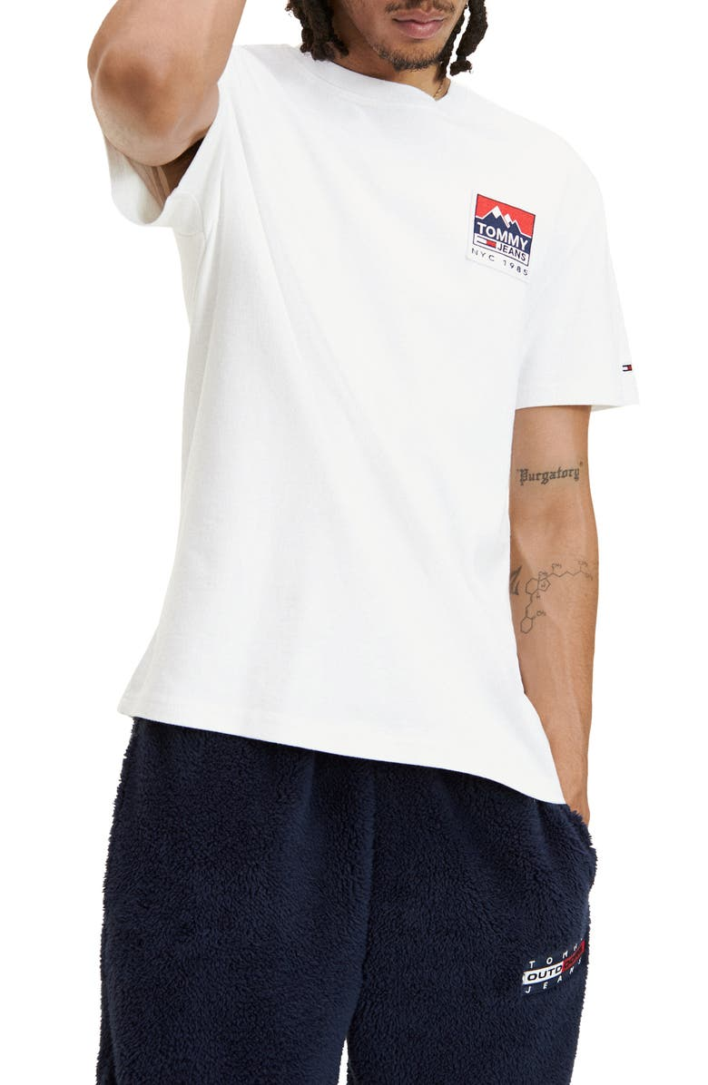 TOMMY JEANS TJM Mountain Back Logo Patch T-Shirt, Main, color, CLASSIC WHITE