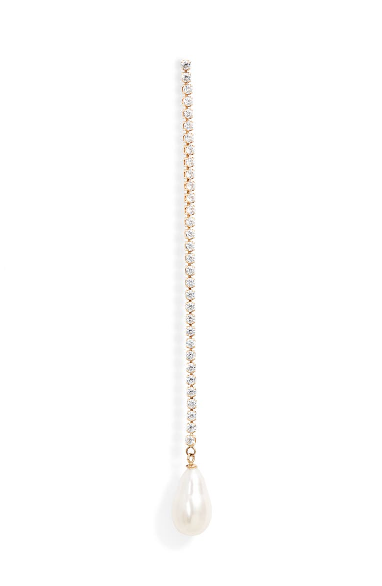 LOREN STEWART Gatsby Single Linear Pearl Earring, Main, color, YELLOW GOLD