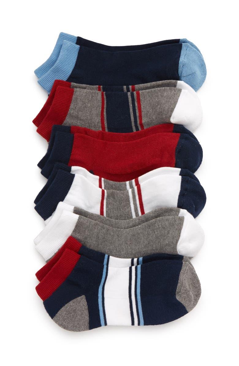 TUCKER + TATE 6-Pack Low-Cut Socks, Main, color, NAVY DENIM MULTI
