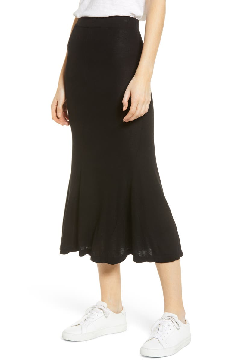 AG Peary Ribbed Midi Skirt, Main, color, 001