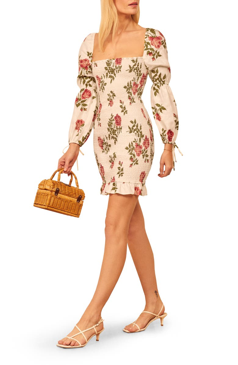 REFORMATION Hilary Long Sleeve Minidress, Main, color, JOLIE