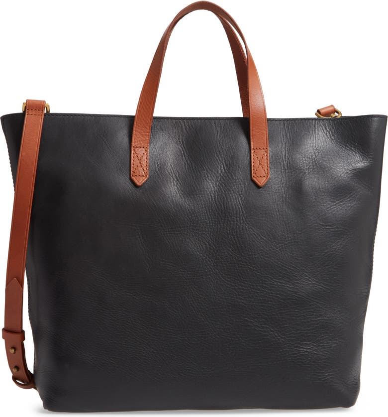 MADEWELL Zip Top Transport Leather Carryall, Main, color, TRUE BLACK W/ BROWN
