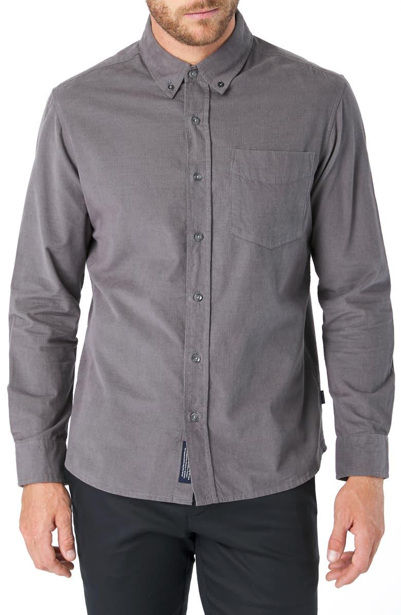 7 DIAMONDS The Darklands Slim Fit Corduroy Button-Down Shirt, Main, color, GREY