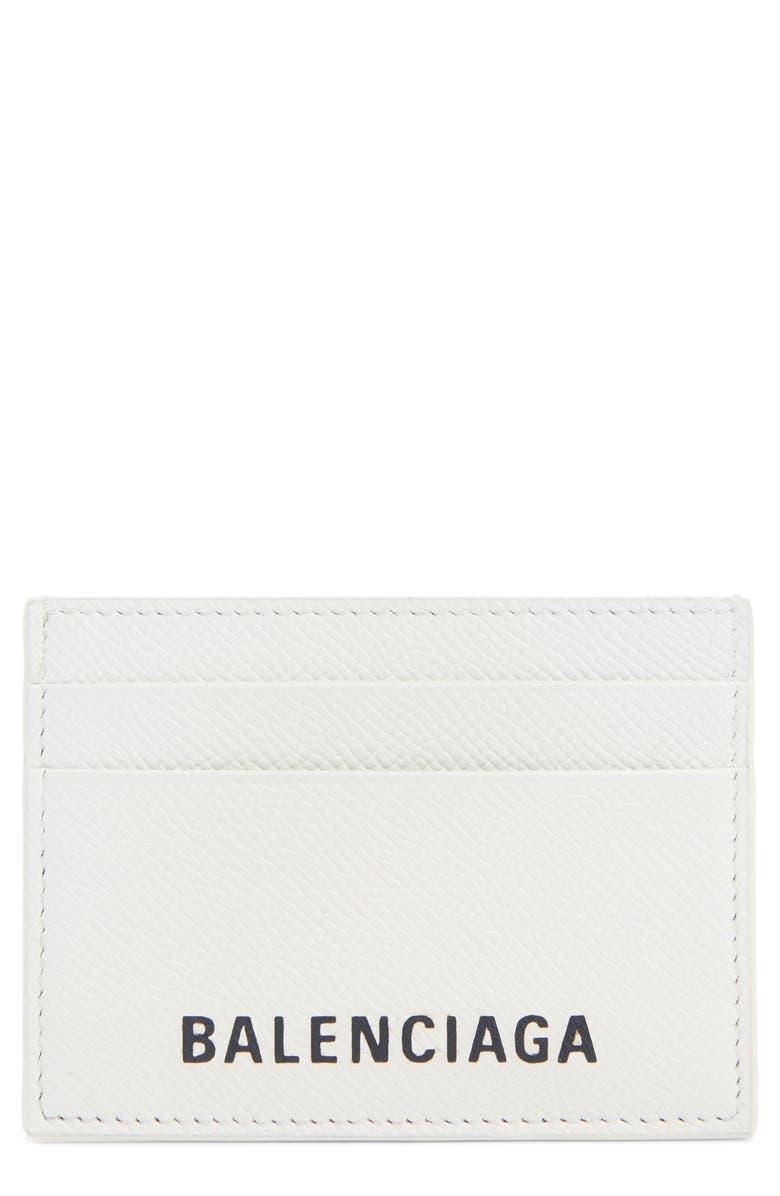 BALENCIAGA Ville Logo Leather Card Case, Main, color, WHITE/ BLACK