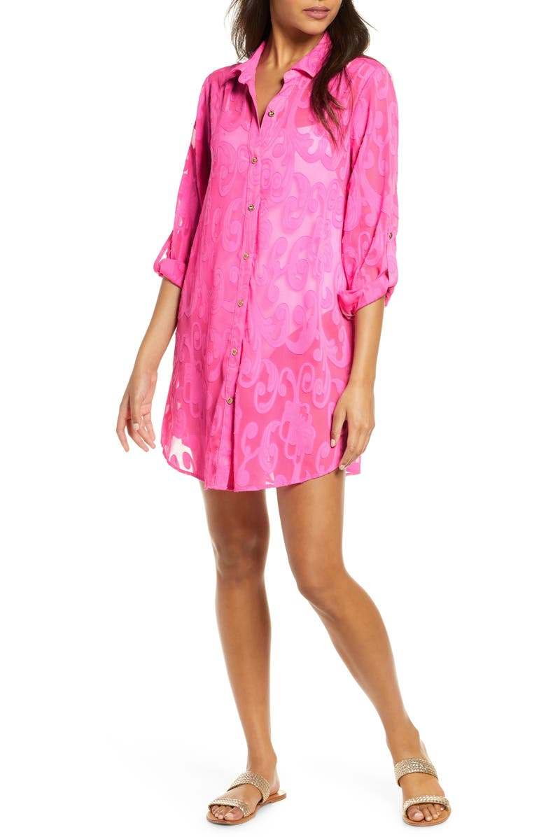 LILLY PULITZER<SUP>®</SUP> Natalie Burnout Cover-Up Shirtdress, Main, color, MANDEVILLA PINK POLY