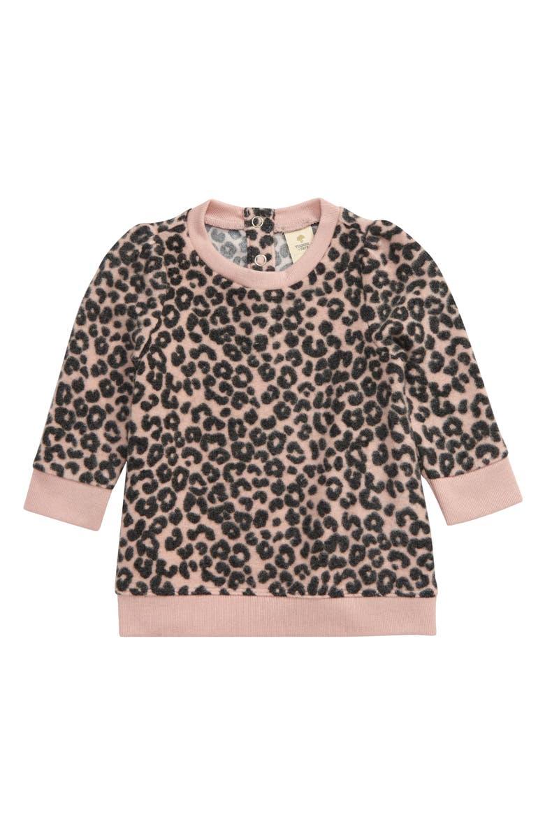 TUCKER + TATE Puff Sleeve Fleece Top, Main, color, PINK SMOKE LEOPARD