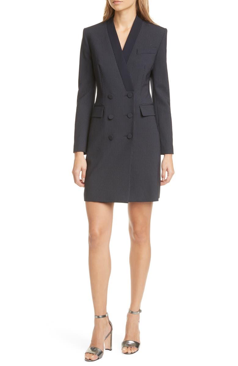 JUDITH & CHARLES Aivita Long Sleeve Pinstripe Blazer Dress, Main, color, NAVY