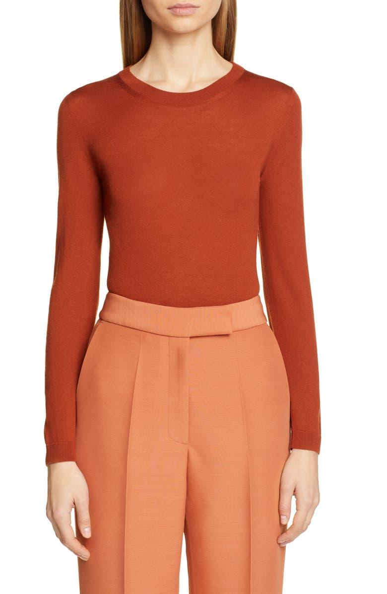 PARTOW Greta Merino Wool Sweater, Main, color, RUST