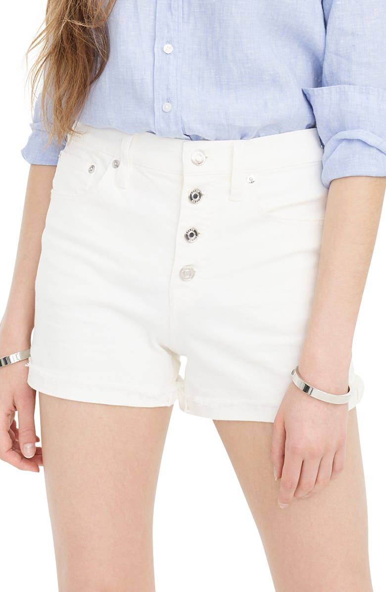 J.CREW High Rise Button Fly Denim Shorts, Main, color, 100