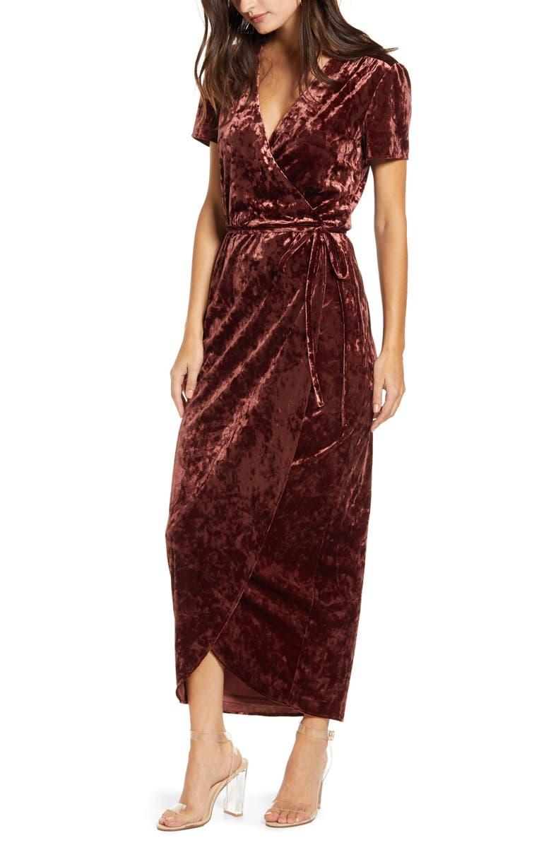 WAYF Next to You Velvet Wrap Dress, Main, color, 205