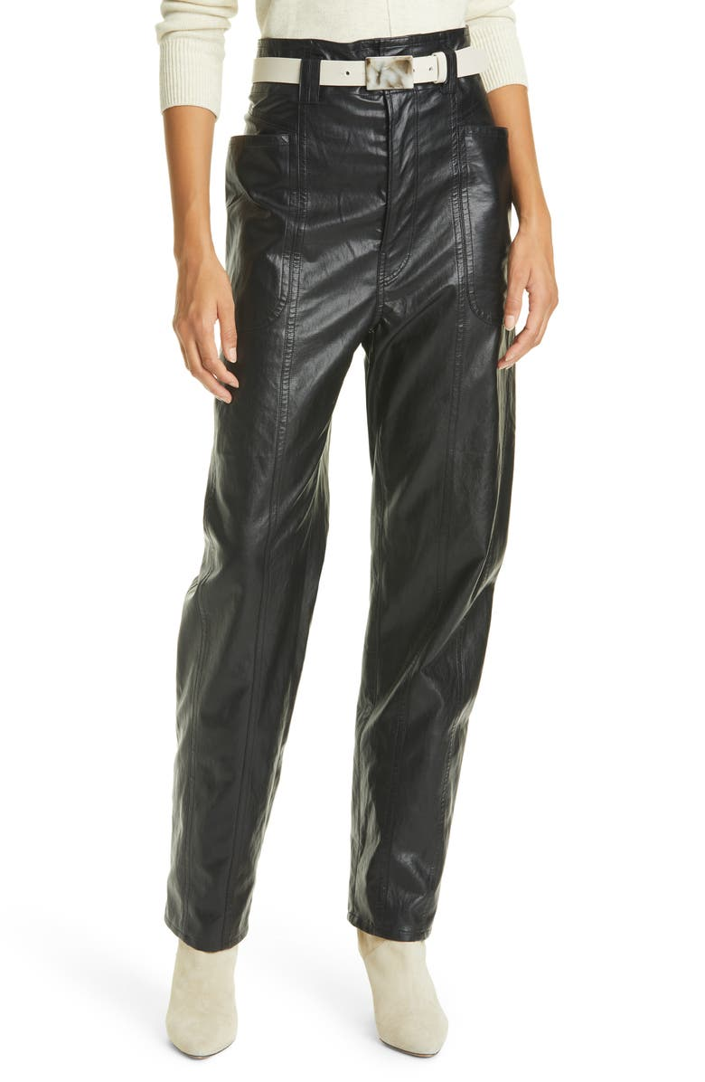 ISABEL MARANT ÉTOILE Faux Leather Pants, Main, color, BLACK