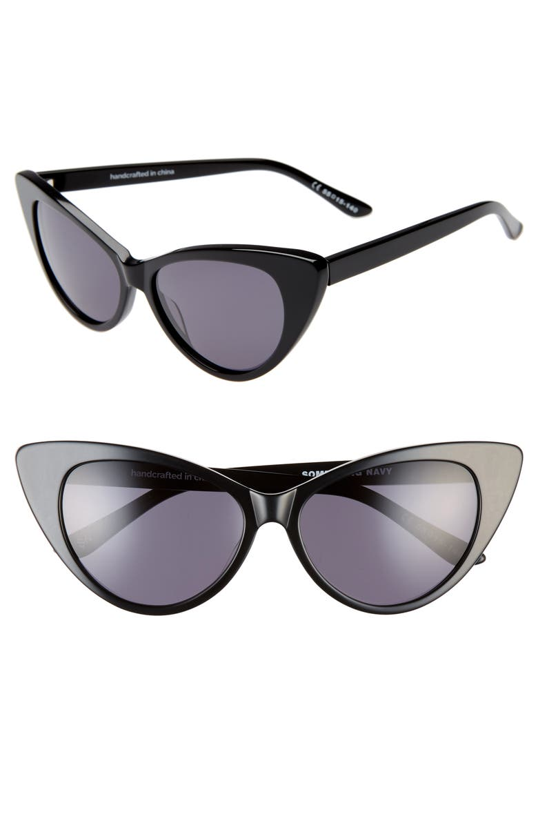 SOMETHING NAVY 55mm Cat Eye Sunglasses, Main, color, 001