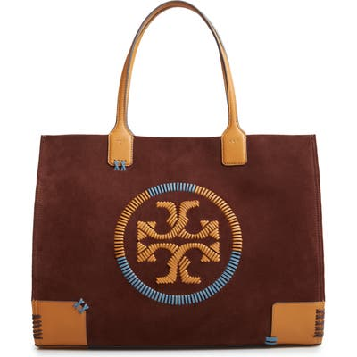 Tory Burch Ella Whipstitch Logo Leather Tote - Brown