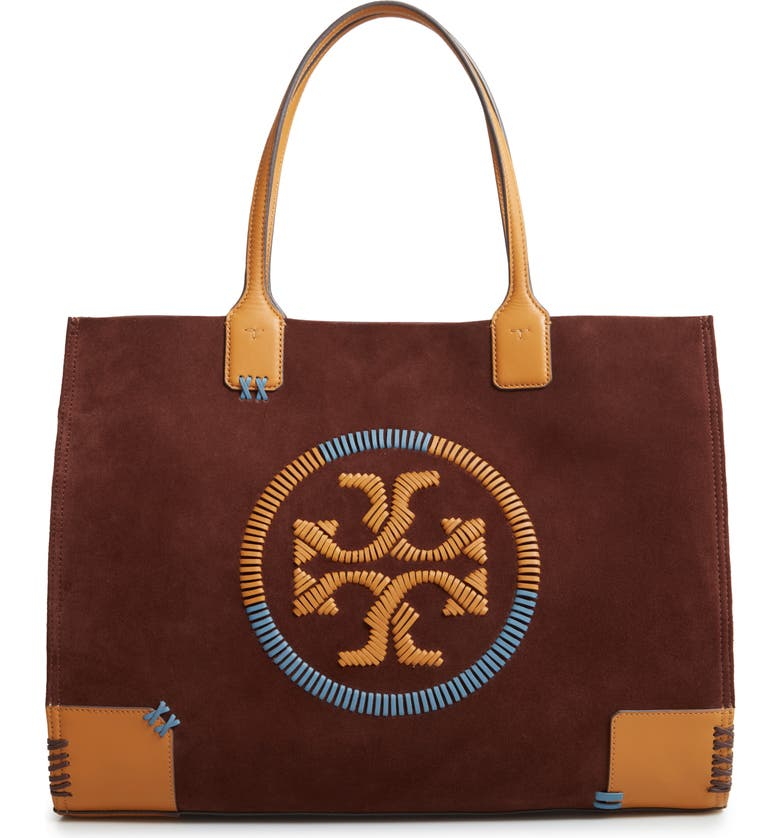 TORY BURCH Ella Whipstitch Logo Leather Tote, Main, color, IRON