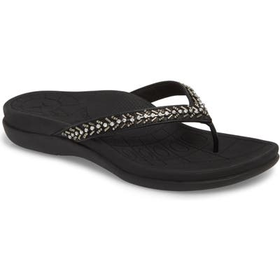 Aetrex Jules Crystal Embellished Water Friendly Flip-Flop, Black