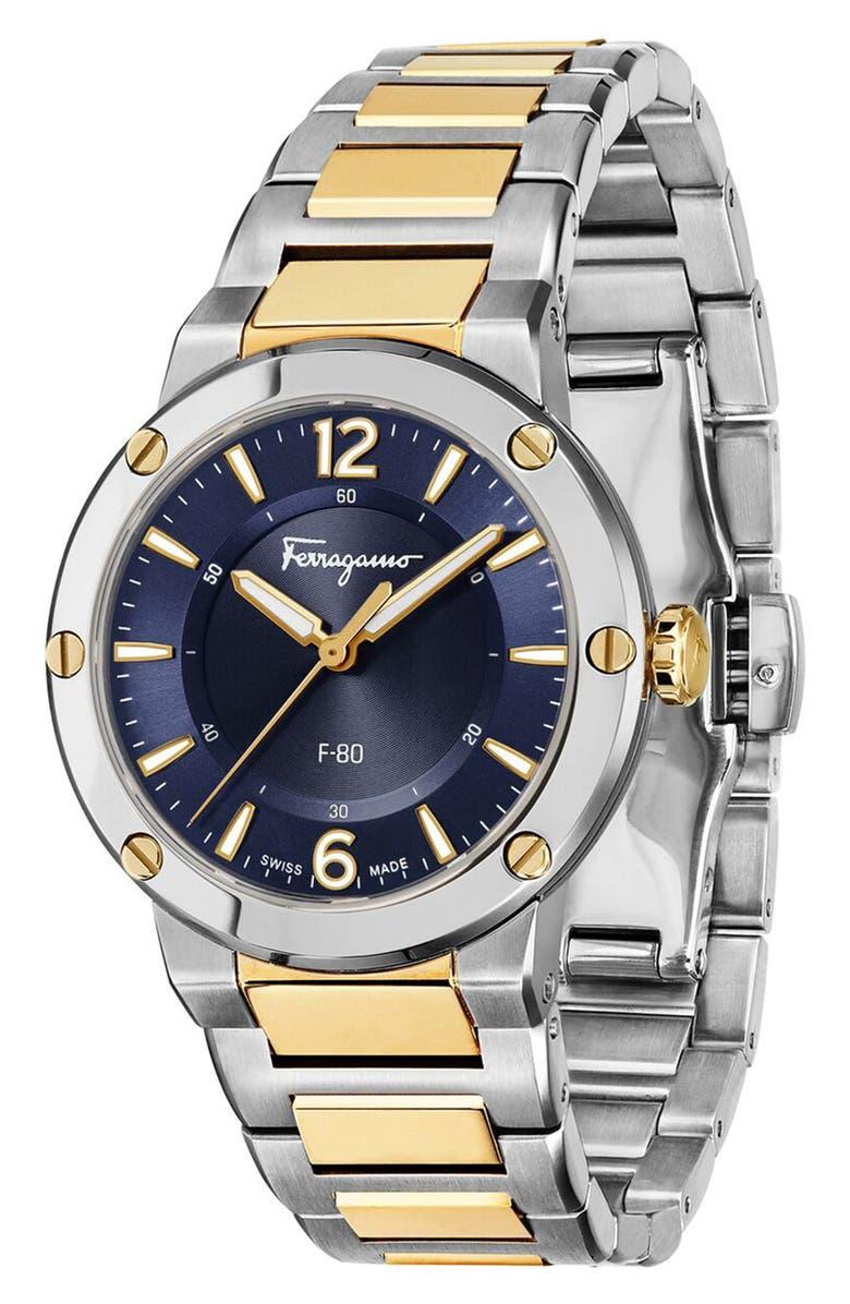 SALVATORE FERRAGAMO F-80 Bracelet Watch, 34mm, Main, color, GOLD/ BLUE/ SILVER