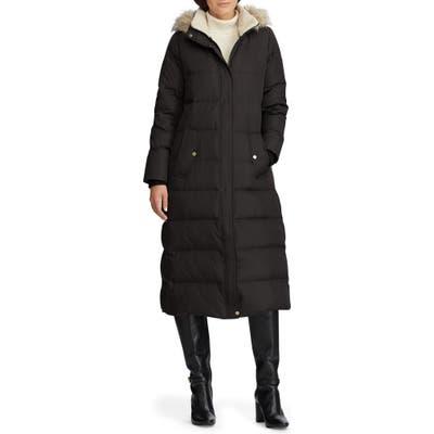 Lauren Ralph Lauren Long Hooded Down & Feather Fill Puffer Coat, Black