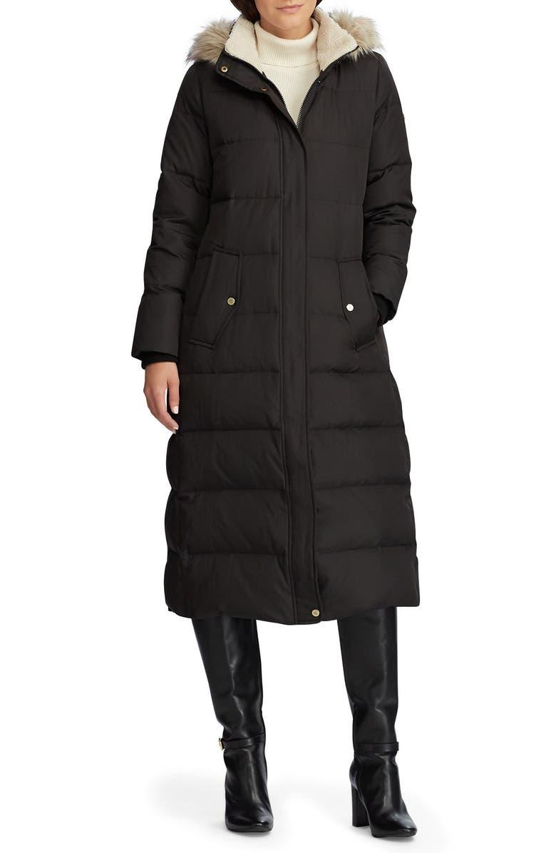 LAUREN RALPH LAUREN Long Hooded Down & Feather Fill Puffer Coat, Main, color, 001
