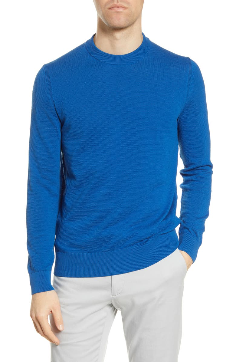 BOSS Ocaio Cotton Crewneck Sweater, Main, color, MEDIUM BLUE