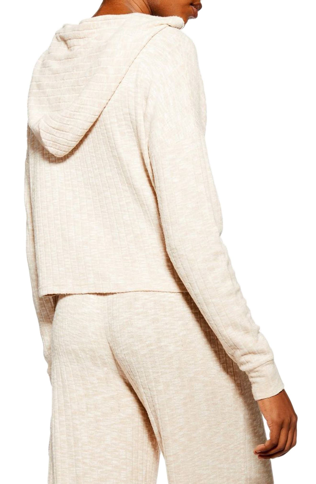 ,                             Ribbed Crop Lounge Hoodie,                             Alternate thumbnail 2, color,                             OATMEAL