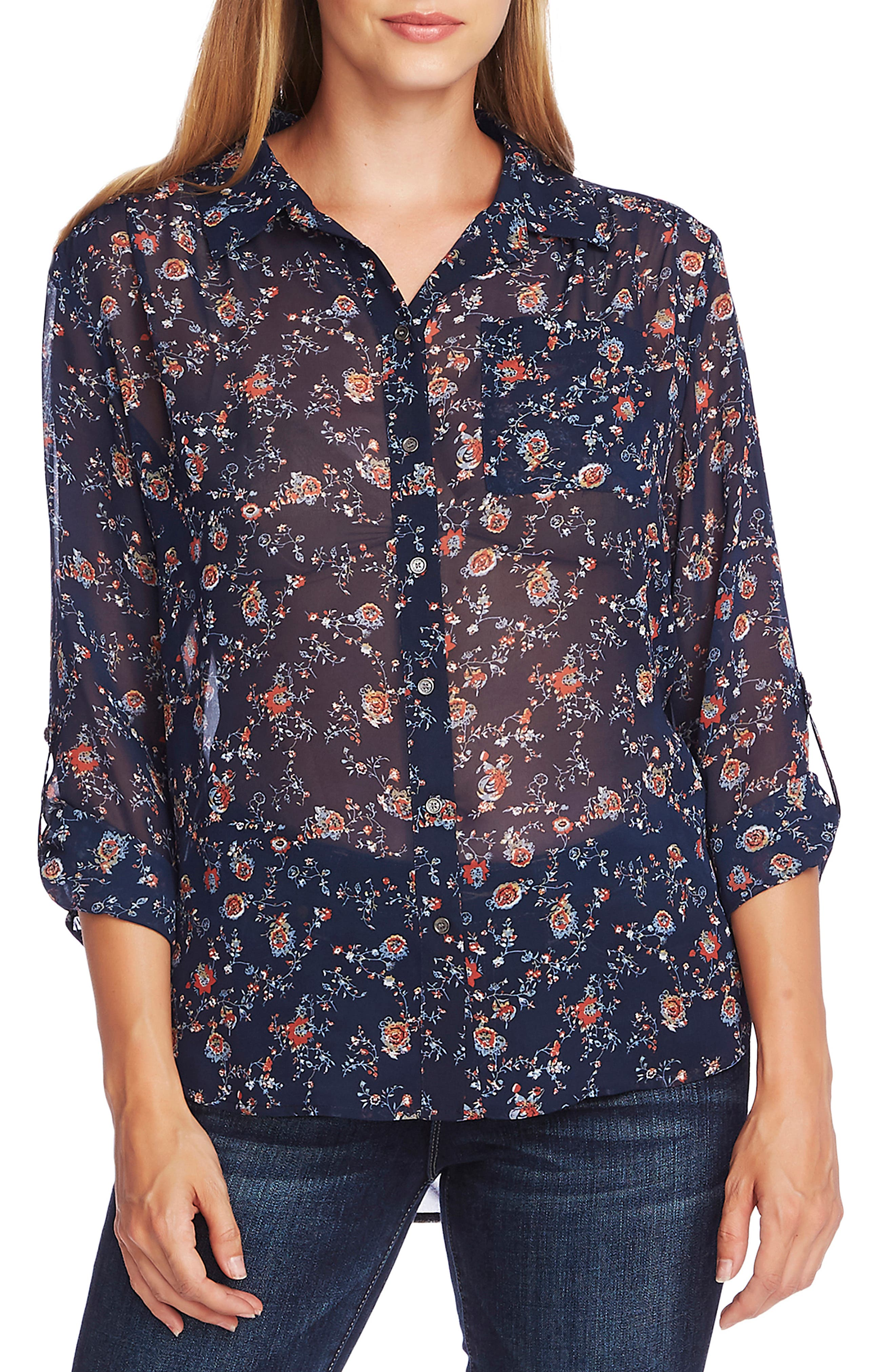 Image of Vince Camuto Ditsy Floral Roll Sleeve Tunic Blouse